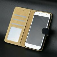 Black Leather Wallet Cover Flip Case For Samsung Galaxy A7 2016 (A710)
