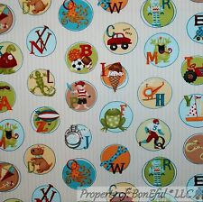 BonEful Fabric Cotton Quilt Alphabet Letter Baby Boy Pirate Boat Animal NR SCRAP