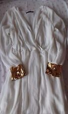Roiii size XL white chiffon fully lined dress with gold sequin cuffs