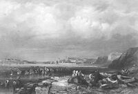 Tyne SOUTH SHIELDS HARBOR BEACH SHORE BOATS ~ 1840 Seascape Art Print Engraving