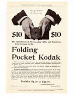 """Kodak CAMERA Antique FOLDING POCKET Model BOX 1898  8x10"""" REPRINT AD Vtg Print"""