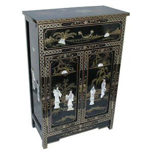 MOTHER OF PEARL ORIENTAL FURNITURE - HANDMADE BLACK LACQUER CABINET WITH DRAWER