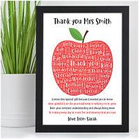 Personalised Thank You Teacher Gifts APPLE School Nursery TA Leaving Poem Print