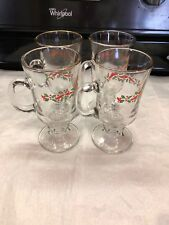 4 Libbey Christmas Holly and Ribbon Irish Coffee or Tea Glass Mug Cup Footed