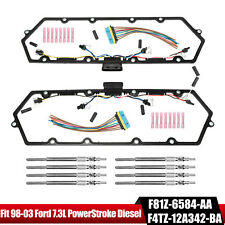 For 98-03 Ford 7.3L Powerstroke Diesel Valve Cover Gaskets Harness & 8 Glow Plug