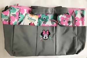 Diaper Bag + Bottle & Pacifier Tote Minnie Gray Pink Green Flowers NWT