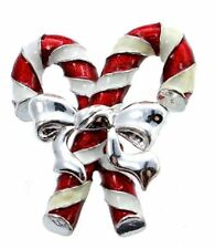 Silver-Tone Candy Cane Pin Brooch #C230 Jones New York Christmas Jewelry -