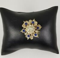 Ladies Vintage Gold Tone flower Design with blue and clear Crystal Brooch Pin
