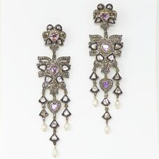 NYJEWEL Antique 14k Gold Silver 8ct Diamond Amethyst Pearl Large Earrings