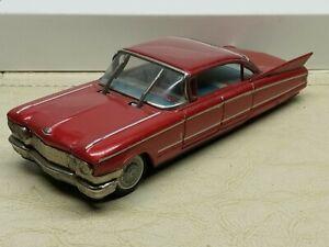 Vintage YONEZAWA CADILLAC Tin Friction Toy Car Red- Moving Wipers JAPAN