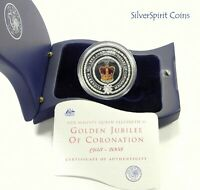 2002 GOLDEN JUBILEE OF ACCESSION 1oz SILVER Proof Coin in Flag Box