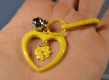Vintage 80's Plastic Charm Bell clip Necklace Yellow Heart Dangle Charm