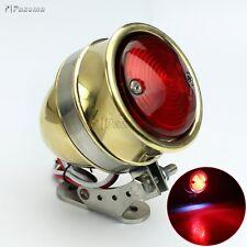 12V Bullet Brass LED Tail Lights Taillamp For Harley Chopper Bobber Café Racer