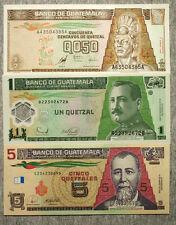 Set of 3 different Guatemala 1/2 1983, 1 1996 and 5 2003 Quetzales Au-Unc.