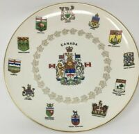 Vtg Georgian Collectible Canada Provinces Flags and Crest Plate 22K Gold Edging