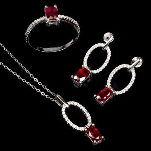 Antique Red Ruby 6x4mm Cz 14K White Gold Plate 925 Sterling Silver Sets