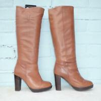 HOBBS NW3 Leather Boots Size Uk 3 Eur 36 Womens Pull on Platform Brown Boots