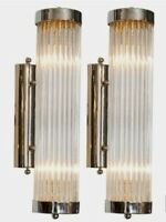 Pair Vintage Old Art Deco Chrome Brass & Glass Rod Ship Light Wall Sconces Lamp