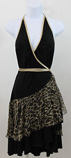 Guess Marciano Black & Gold Leopard Sexy Wrap Dress   SZ S