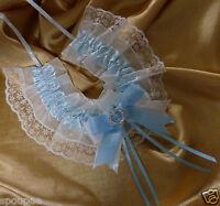 WEDDING HORSESHOE SOMETHING BLUE SATIN AND WHITE LACE HORSESHOE BRIDAL GIFT LOVE
