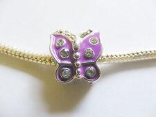 1 Silver Plated Enamel Butterfly Charm Bead for European/Charm Bracelet - Purple