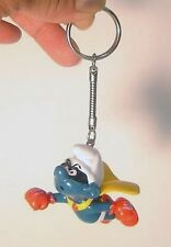 Vintage 1980's Super Hero Smurf PVC Figure Key chain