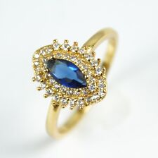 Women's 18 Carat Gold plated Blue and Clear Austrian crystal Ring UK Size O