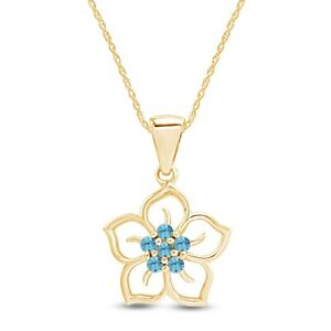 Round Cut Aquamarine Flower Pendant Necklace in 14K Yellow Gold Over