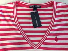 NWT POLO RALPH LAUREN LADIES SS PINK & WHITE RIBBED V-NECK TEE SHIRT SMALL
