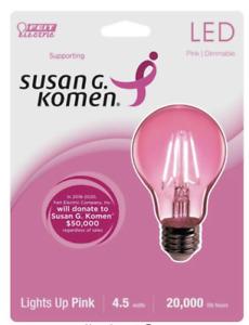 Feit Electric Pink Dimmable Filament Susan G Komen LED Light Bulb