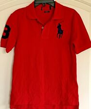 NewRalph Lauren Boys Tennis Tail Cotton Polo Shirt Size 10 Red S0235