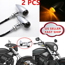 2x Chrome Motorcycle Turn Signals Bullet Blinker Amber Indicator Lights Lamp 12v