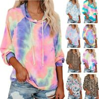 Women's Tops Ladies Casual Tie dye Long Sleeve Hoodie Sweat T-Shirts Top Tees