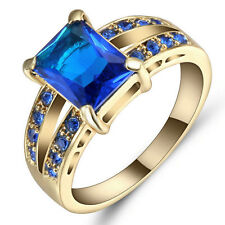 Size  6 Blue Sapphire Wedding Ring 10KT Yellow Gold Filled Engagement Jewelry