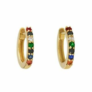 14K Yellow Gold Plated Diamond and Multi Sapphire Gemstone Hoop Earrings a623