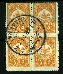 TURKEY OTTOMAN Syria  MARRA  5 paras block of 4  VF used  (975)