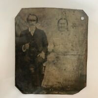 Antique Victorian Tintype Couple Love Photograph Granddad Grandma 1800s