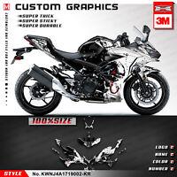 Custom Graphics Motorbike Vinyl Stickers for Ninja 400 ABS 2017 2018 2019 Black