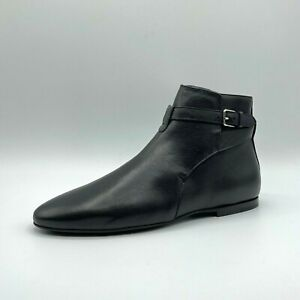Saint Laurent Baby Horse Men's Black Leather Pull Up Ankle Boot 530638 1000