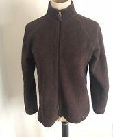 Columbia Womens Jacket Fleece Size Large Sherpa Fuzzy Winter Full Zip Brown