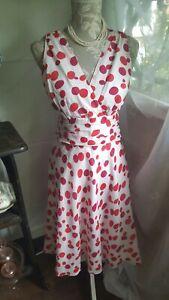 Vtg 1940's 50's style white pink polka dot tea dress by Bravissimo size 10 c uk