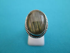 925 Silver Overlay Ring With Natural Firy Labradorite Size Q, US 8 (rg2205)