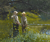 Fishing Winslow Homer Painting Print on Canvas Giclee Reproduction Painting 8x10