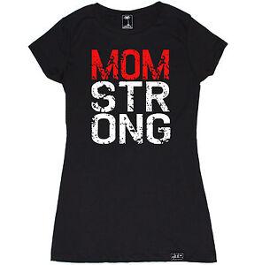 MOM STRONG WOMEN T SHIRT WORKOUT MODE BEAST FLEX DIET CROSSFIT YOGA GYM FUNNY