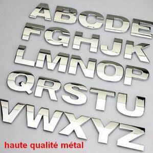 LETTRE CHIFFRE 3D METAL HAUTE QUALITE sticker  adhésif  auto Chrome voiture