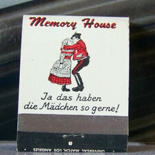 Vintage Matchbook W9 Downey California Memory House German Continental Kissing