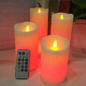 Flameless Candles with Timer Remote Moving Wick Luminara WAX Pillar LED