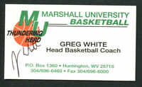 Greg White signed autograph Marshall University Basketball Business Card BC009