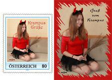 A) Personalisierte Briefmarke 80 cent KRAMPUS MÄDCHEN 2019 und Postkarte