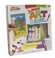 Junior Art Easel Set With Easel 2 Canvasses 4 Paints Paintbrush Brand New Age 5+